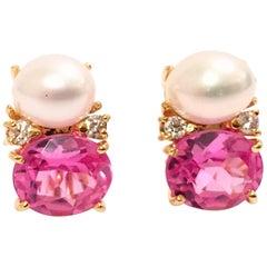 Medium Gum Drop Earrings with Pearls and Pink Topaz and Diamonds
