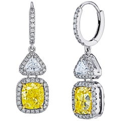 Emilio Jewelry GIA Certified 7.78 Carat Natural Fancy Yellow Diamond Earrings