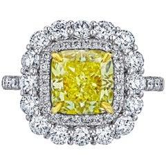 Emilio Jewelry 4.85 Carat GIA Certified Natural Fancy Yellow Diamond Ring