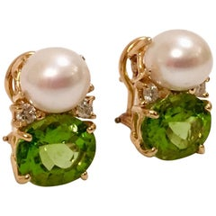 Medium Gum Drop Earrings with Pearls and Peridot and Four Diamonds