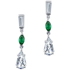 1.39 Carat Total Diamond Weight and 0.28 Carat Marquise Emerald, Dangle Earrings