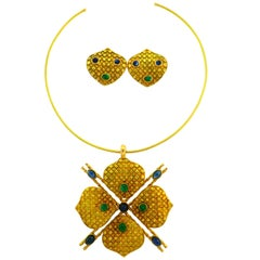Emerald Sapphire Gold Necklace and Earrings Set, French, 1970s Signed J.W.