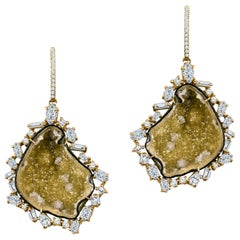 Large Quartz Geode Earrings with Free Form Halo of Various Diamonds 4.15 Carat