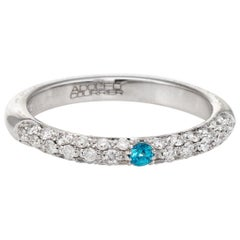Adolfo Courrier Pave Turquoise Diamond Stacking Ring 18 Karat Gold Jewelry