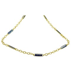 18 Karat Gold Chain with Lapis Blue Enamel