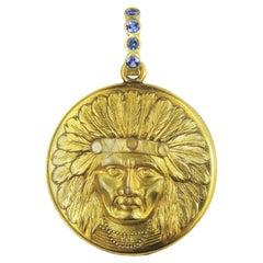 Rose Gold Native American Chief Pendant