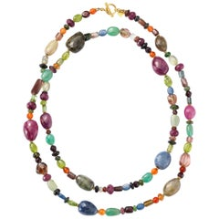 Carolyn Tyler Gold, Emerald Sapphire, Tourmaline, Agate, Ruby Necklace