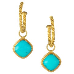 Carolyn Tyler Yellow Glitter Hoops with Turquoise Cushion Cut Diagonal Drops