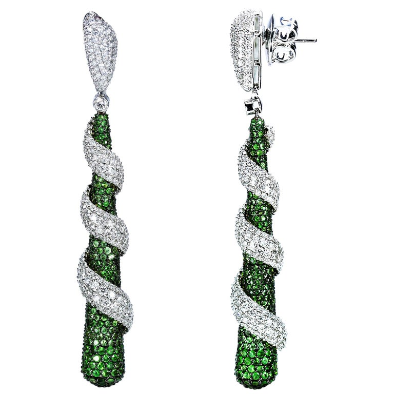 Studio Rêves 18 Karat Gold, Diamonds and Tsavorite Dangling Earrings For Sale