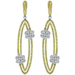 Studio Rêves 18 Karat Gold, Diamonds and Yellow Sapphire Oval Dangling Earrings