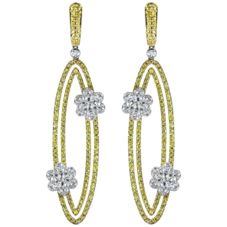 Studio Rêves 18 Karat Gold, Diamonds and Yellow Sapphire Oval Dangling Earrings