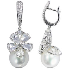 Studio Rêves 18K Gold, Rose cut Diamonds and South Sea Pearls Dangling Earrings