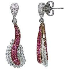 Studio Rêves 18 Karat Rose Cut Diamond and Pink Sapphire Wave Earrings