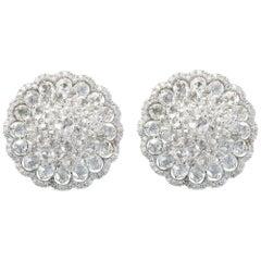Studio Rêves 18 Karat White Gold and Rose Cut Floral Cluster Stud Earrings