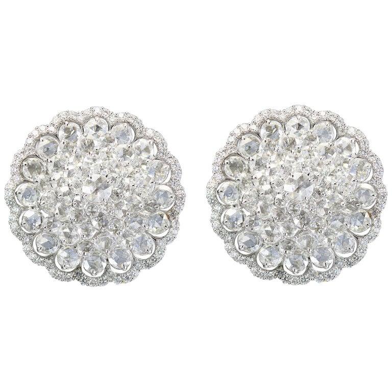 Studio Rêves 18 Karat White Gold and Rose Cut Floral Cluster Stud Earrings For Sale