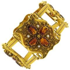 Antique 1850s Natural Pearl Garnet Gold Bracelet