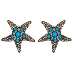 Yellow Gold Icy Diamond Turquoise Starfish Earrings