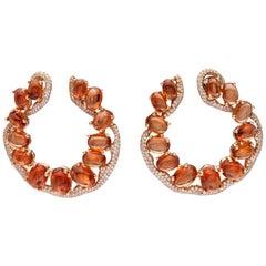 Rose Gold Diamond Mandarin Garnet Cocktail Earrings