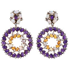 Rose Gold Diamond Cabochon Amethyst and Opal Earrings