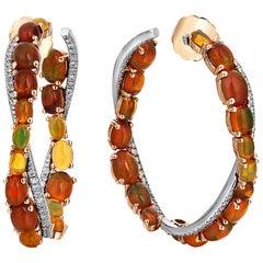 Rose Gold Diamond Cabochon Opal Earrings