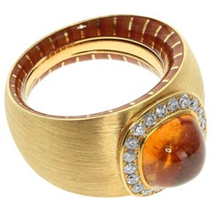 Diamond Mandarin Garnet 18 Karat Yellow Gold Kaleidoscope Enamel Ring
