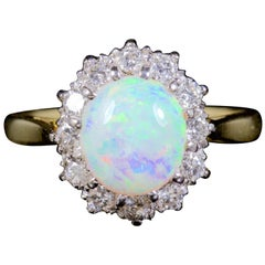 Antique Victorian Opal Diamond Ring 18 Carat Gold, circa 1900