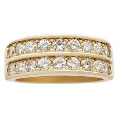 Vintage French 2.88Ct Diamond and Yellow Gold Half Eternity Ring Circa 1990
