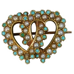 Victorian 15 Carat Gold Turquoise and Seed Pearl Two Hearts Brooch