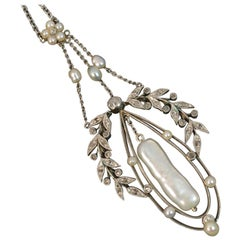 Victorian Lavalier Platinum 15 Carat Gold Pearl and Diamond Necklace Pendant