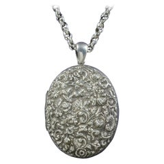 Antique Victorian Silver Floral Locket Necklace, circa 1900