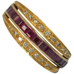 18 Carat Gold Ruby Emerald and Diamond Full Eternity Day Night Ring
