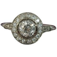 Edwardian 1.30 Carat Old Cut Diamond and Platinum Halo Engagement Ring