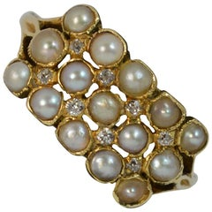 Victorian 18 Carat Gold Pearl and Diamond Cluster Ring