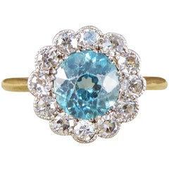Edwardian Blue Zircon and Diamond Cluster Ring in 18 Carat Yellow Gold