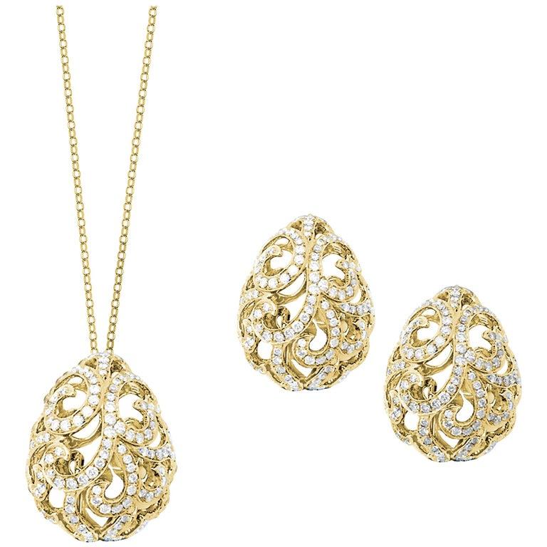 Fei Liu Diamond Filigree Egg 18 Karat Yellow Gold Set