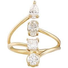 18k Yellow Gold Multi-Cut White Diamond Engagement Ring