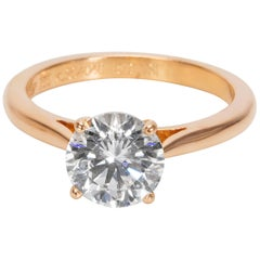 Cartier Diamond Engagement Ring in Rose Gold GIA Certified D VVS2 1.51 Carat