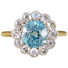 Antique Edwardian Blue Zircon and Diamond Cluster 18 Carat Gold Ring