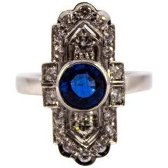 Art Deco 1.37 Carat Blue Sapphire 0.54 Carat Diamond White Gold Cocktail Ring