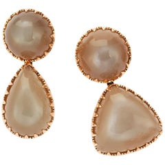 Gold Moonstone Asymmetric Earrings