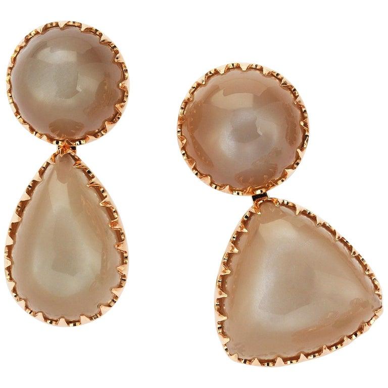Gold Moonstone Asymmetric Earrings