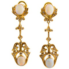 0.90 Carat White Diamond 3.90 Carat Opal Yellow Gold Clip-On Drop Earrings