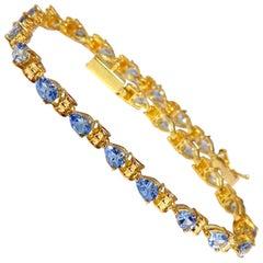 6.00 Carat Natural Tanzanite Tennis Bracelet 14 Karat