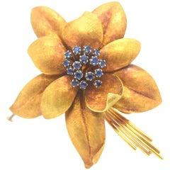 Estate Floral Sapphire Brooch 18 Karat