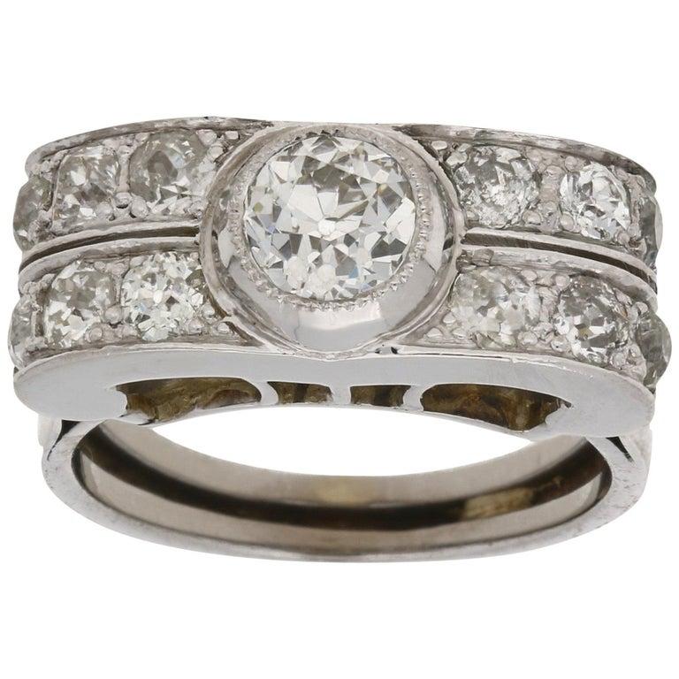 Art Deco Gold Diamond Cocktail Ring