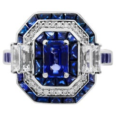 IGL Certified 0.73 Carat Emerald Cut Ceylon Sapphire 14K Octagon Cocktail Ring
