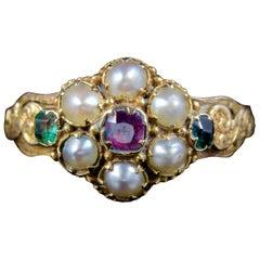 Antique Georgian Emerald Garnet Pearl Ring 18 Carat Gold, circa 1800