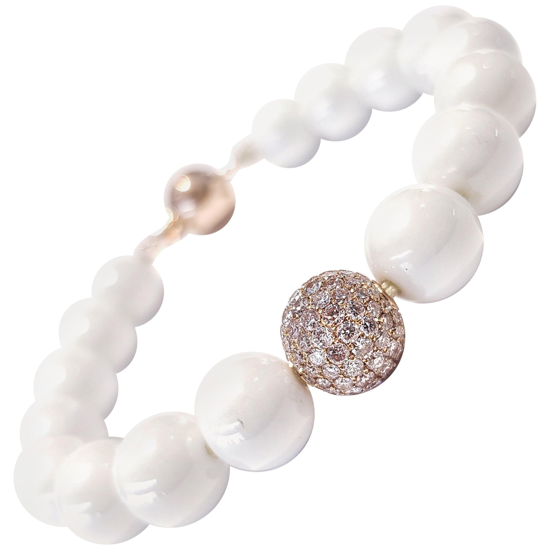 1.80 Carat Pink Diamond White Ceramic 18 Karat Rose Gold Bead Bracelet