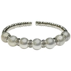 Crivelli 18 Karat White Gold Bangle with Pearls and Diamonds