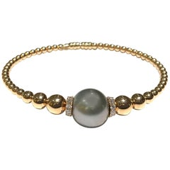 Crivelli 18 Karat Rose Gold Tahitian Pearl and Diamond Bangle